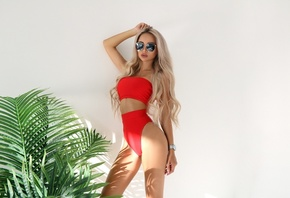 women, blonde, brunette, plants, sunglasses, long hair, necklace, juicy lips, watch, simple background, red swimsuit