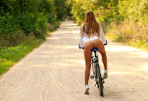 women, ass, lip slip, sneakers, brunette, women with bicycles, road, women outdoors, long hair, white shirt, back, white panties, bicycle