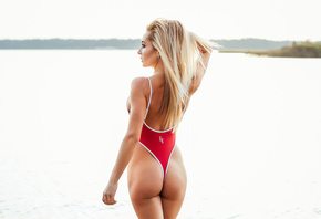 women, blonde, ass, back, one-piece swimsuit, brunette, women outdoors, lon ...