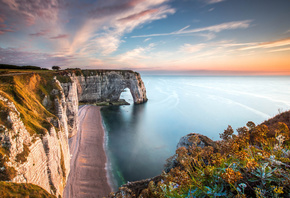 Etretat, Le Havre, cliffs, coast, evening, sunset, ocean, Normandie, France