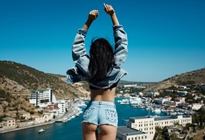 women, ass, jean shorts, arms up, mountains, sky, back, the gap, denim, women outdoors, water