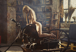 women, Aleksandra Smelova, blonde, nude, window, ass, boobs, nipples, long  ...