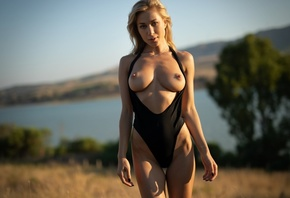 darya, boobs, big tits, nipples, swimsuit, tits out