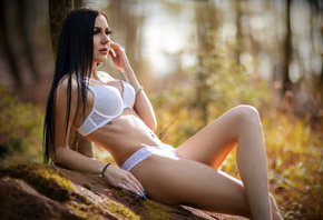 women, straight hair, long hair, trees, women outdoors, belly, tattoo, look ...