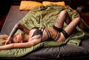 women, blonde, black panties, in bed, tattoo, brunette, ribs, closed eyes,  ...