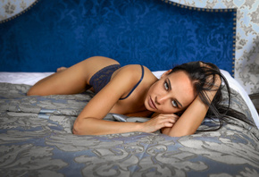 women, Angelina Petrova, brunette, blue eyes, in bed, ass, gray eyes