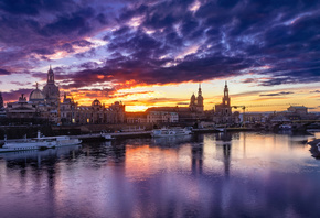 Dresden, 4k, sunset, cityscapes, german cities, Germany, Dresden skyline, Cities of Germany