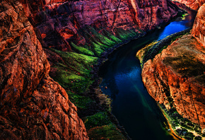 Grand Canyon, National Park, beautiful nature, river, HDR, american landmarks, Colorado, green slopes