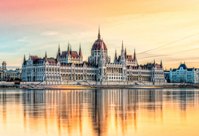 Budapest, Hungarian Parliament Building, evening, sunset, Danube river, Hungary, Budapest landmark, Parliament