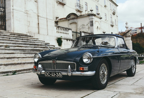 MG MGB, 1973, exterior, black roadster, MGB Roadster, retro cars, black