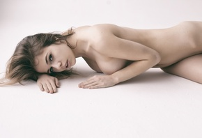 women, Aleksandra Smelova, nude, white background, boobs, belly, pierced na ...