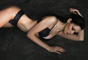 women, brunette, ass, black lingerie, belly, pierced navel, closed eyes, on the floor, cleavage, long hair
