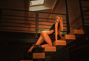 women, blonde, ass, stairs, high heels, brunette, long hair, red lipstick, bodysuit