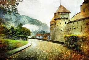 art, artwork, autumn, castle, beautiful