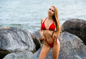 women, blonde, red bikini, rocks, sea, brunette, ribs, women outdoors, long ...