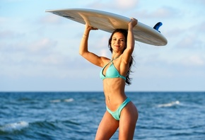 women, sea, brunette, women outdoors, smiling, ribs, armpits, belly, pierced navel, surfboards, bikini, sky, clouds, long hair
