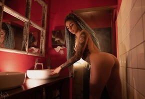 women, nude, ass, bathroom, mirror, tattoo, brunette, long hair, boobs, nip ...