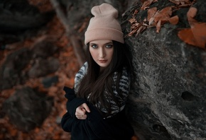 women, portrait, bonnet, leaves, rocks, gray eyes, sweater, long hair