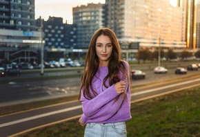 women, portrait, smiling, sweater, long hair, building, women outdoors, highway, arms crossed