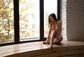 women, sitting, boobs, nipples, window, window sill, bricks, nude, brunette ...