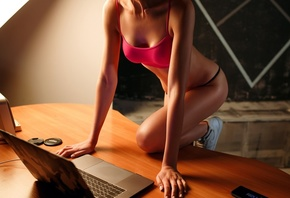 women, brunette, desk, cellphone, laptop, sneakers, black panties, nipple through clothing, pink tops, camouflage