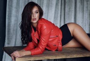 women, leather jackets, bodysuit, table, brunette, women indoors, pierced n ...