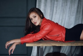 women, leather jackets, bodysuit, table, brunette, women indoors, brown eye ...