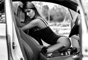 women, ass, kneeling, women with cars, monochrome, white nails, bodysuit, H ...