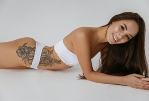 women, white lingerie, white background, brunette, long hair, ass, smiling, simple background, tattoo