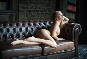 women, blonde, nude, ass, books, boobs, nipples, closed eyes, couch, pink l ...