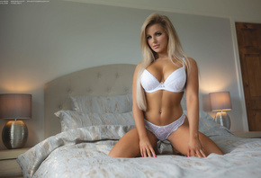 women, blonde, white lingerie, belly, lamp, brunette, long hair, in bed, kn ...