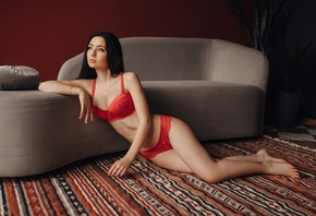 women, Sergey Freyer, red lingerie, couch, belly, looking away, on the floor, brunette