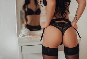 women, Sergey Freyer, ass, brunette, back, mirror, reflection, tattoo, black lingerie, long hair