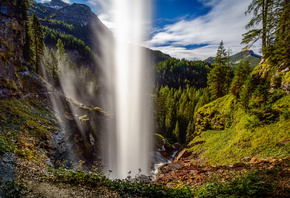 Johannes Waterfall, Alps, mountain waterfall, mountain river, mountain land ...