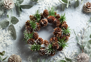 Christmas wreath, winter, snowflakes, cones, Happy New Year, Christmas