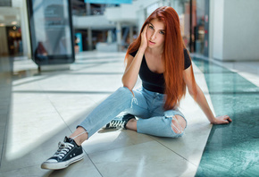 women, redhead, sitting, sneakers, Converse, long hair, torn jeans, on the floor, eyeliner