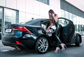 women, smiling, women with cars, flowers, high heels, red nails, black clothing, leggings, long hair, straight hair, tight clothing, women outdoors