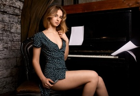 women, blonde, dress, sitting, piano, chair, women indoors, cleavage