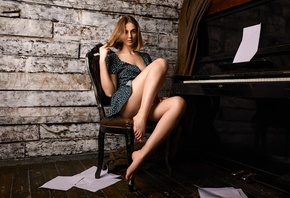 women, blonde, dress, sitting, ass, cleavage, piano, wooden floor, women indoors, chair