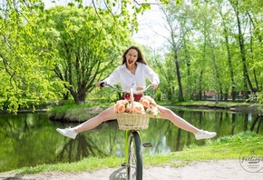 women, plaid skirt, white shirt, schoolgirl uniform, flowers, women outdoors, women with bicycles, bicycle, open mouth, sneakers, White socks, lake, trees, skirt, red lipstick, tongues
