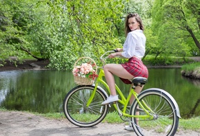 women, plaid skirt, white shirt, schoolgirl uniform, flowers, women outdoors, women with bicycles, bicycle, sneakers, lake, red lipstick, skirt, trees, White socks