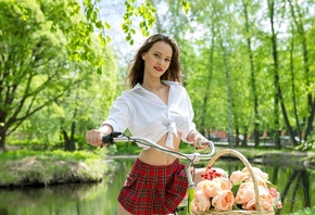 women, plaid skirt, white shirt, schoolgirl uniform, flowers, women outdoors, women with bicycles, bicycle, red lipstick, belly, lake, smiling, trees, skirt