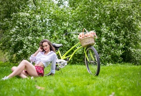 women, plaid skirt, white shirt, schoolgirl uniform, flowers, women outdoors, women with bicycles, bicycle, sitting, grass, red lipstick, sneakers, smiling, skirt, White socks