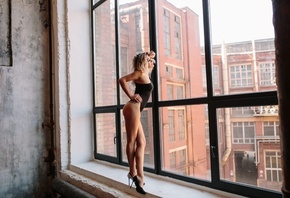 women, ass, blonde, high heels, window, building, tattoo, women indoors, women with glasses, bodysuit, brunette