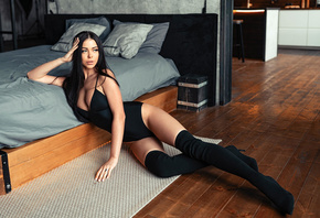 women, bodysuit, bed, pillow, black stockings, cleavage, wooden floor, on the floor, brunette, long hair, women indoors