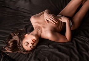 women, brunette, in bed, Victorias Secret, topless, ribs, closed eyes, cove ...