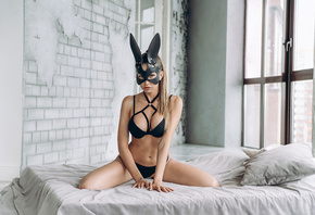 women, mask, black lingerie, wall, window, belly, brunette, pierced navel,  ...