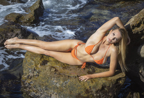 women, orange bikini, blonde, belly, women outdoors, armpits, sea, rocks, h ...