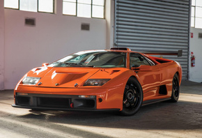 Lamborghini, Diablo, supercar, orange, sports coupe
