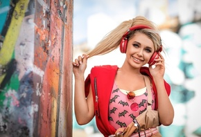 women, blonde, headphones, portrait, smiling, wall, graffiti, glasses, red sweater